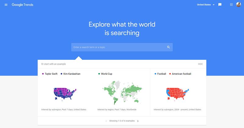 محیط داخلی گوگل ترندز